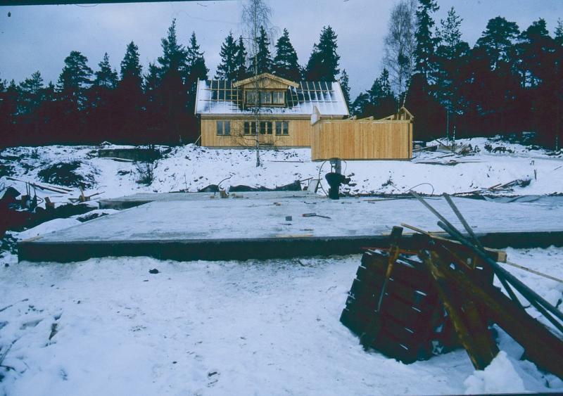 Snöoväder när det var dags att gjuta plattan